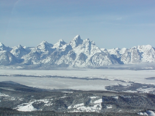 Tetons From The Air - 2002 by Judy Montagne