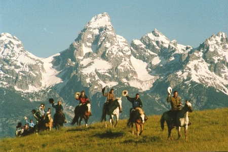 TVRC Riders In Front Of Grand Teton - 2000 by Matt and Judy Montagne