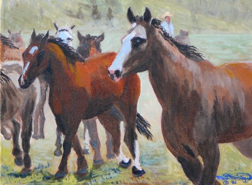 """Wrangling In"" 9 x 12 gallery wrap   ***SOLD*** - Copyright by Matt and Judy Montagne"