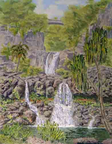 """Seven Sacred Pools"", Maui 14 x 11    $650 - Copyright by Matt and Judy Montagne"