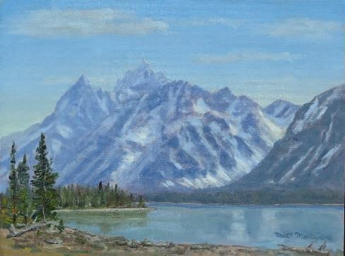 Tetons Across Jackson Lk FrColter Bay 12x16  ***SOLD*** - Copyright by Matt and Judy Montagne