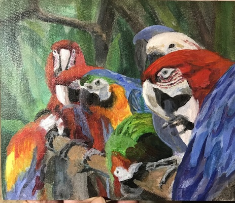 """Colorful Conversation"" 8x10 acrylic  $450 - Copyright by Matt and Judy Montagne"